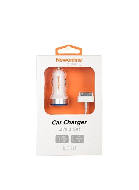 Newonline Newonline iPhone 4G Araç Şarj ve USB Kablo Renkli